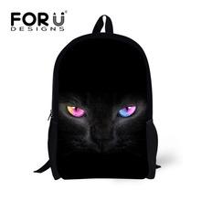 FORUDESIGNS Cool Black Cat Printed Girls School Backpack Animal Kids Bagpacks for Children Students Boys Mochila Bagpack