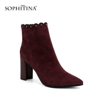 SOPHITINA Hot Rivets Decorated Fashion Classic Kid Suede Ankle Boots Sexy Pointed Toe High Heel Women Shoes Zip Winter Boots M83