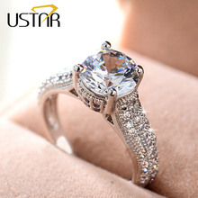 Luxury 7mm CZ Diamond wedding Rings for women Jewelry Silver Plated party rings with Austria Crystals Anel bijoux