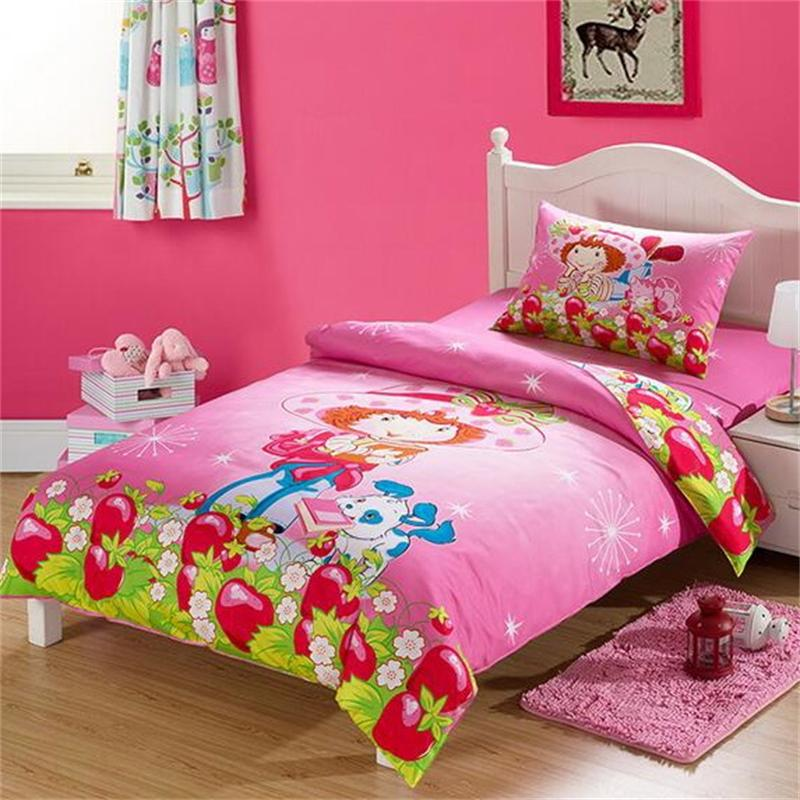 Strawberry Shortcake Pink Cartoon Bedding Sets Twin Size Bed Sheets Quilt Cover 100% Cotton Fabric Bedclothes for Kids Girl