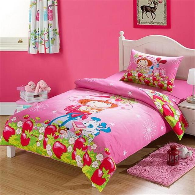 Strawberry Shortcake Pink Cartoon Bedding Sets Twin Size Bed Sheets Quilt  Cover 100% Cotton Fabric