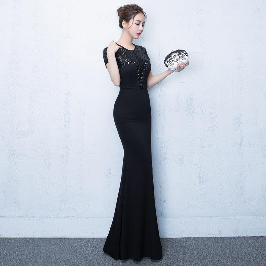 ef1a204ba23 Women Elegant Sequins Maxi Dresses Short Sleeve Beading Mermaid Long  Evening Party Dress Black/Blue/Red Color-in Dresses from Women's Clothing  on ...