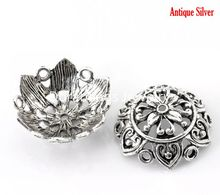 DoreenBeads 20 Antique Silver Flower Bead Caps Findings 25x10mm(1″x3/8″), Fit 24mm(1″) bead (B21693), yiwu