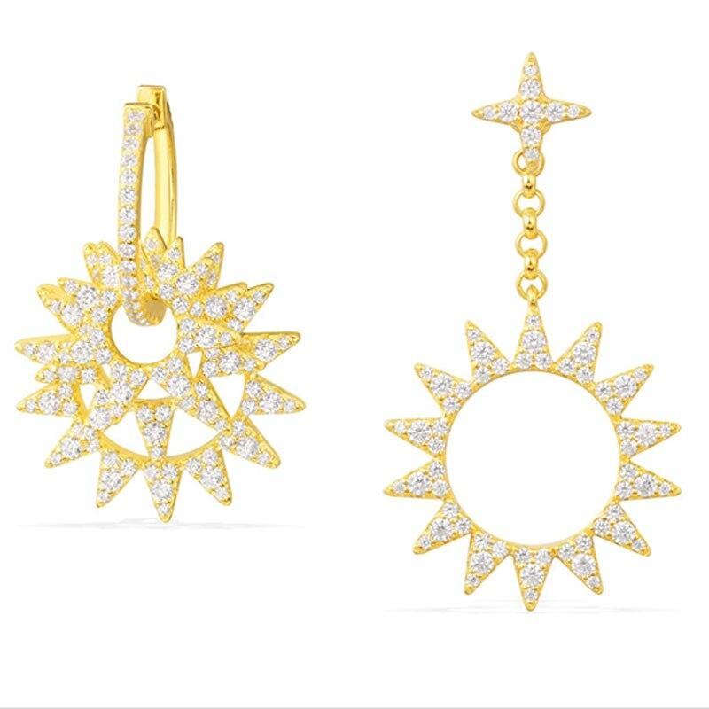SKA Earrings For Women Monaco Style Fine Jewelry Asymmetrical Golden Yellow 925 Silver AAA Zircon Sunshine Earrings AE10161OXY retro style zinc alloy owl earrings for women golden