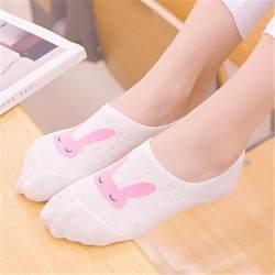 Животных печати смешное искусство милые Носки Банни закрытым невидимые подследники Носки корейский стиль Женщины назначение торговый meias