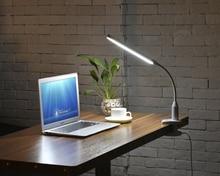 Настольная лампа 5 Вт 24 светодиоды глаз защиты зажим свет настольная лампа Плавная затемнения Гибкие USB Powered сенсорный Сенсор управление