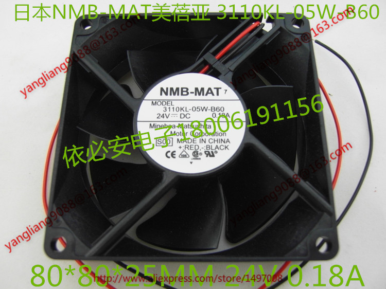 Free Shipping For  NMB 3110KL-05W-B60, S00 DC 24V 0.18A, 80x80x25mm 2-wire 80mm  Server Cooling Square fan original nmb 8025 8cm 80mm 3110kl 04w b79 for cisco 2851 2821 switch dc 12v 0 38a server inverter cooling fan
