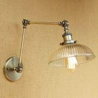 Vintage Loft Endüstriyel duvar lambası cam abajur ücretsiz ayarlamak uzun salıncak kolu oturma odası yatak odası için restoran bar LED E27
