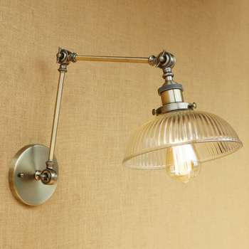 Vintage Loft Industrial wall lamp glass lampshade free adjust long swing arm for living room bedroom restaurant bar LED E27