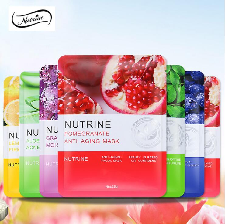 Thailand 6 Color NUTRINE Natural Fruit And Vegetable Mask Moisturizing Whitening Anti-Aging Juice Essence Extraction Oil-control