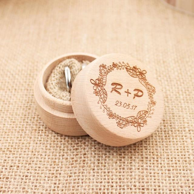 Personalized Rustic Ring Bearer Box Custom Wedding Holder Vintage Pillow