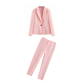 Women's two-piece solid color casual long-sleeved one button blazer + high waist straight trousers 2 piece outfits for women black solid color swimwears two piece outfits