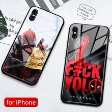 Capa para iphone xs max vidro capa traseira caso deadpool 7 plus capa funda para iphone 6s 7 8 plus x xs max xr 11 pro max se2