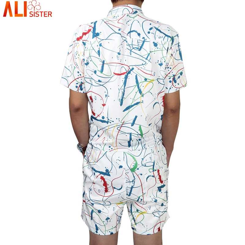 b193234c9c6c ... 2019 Men s Playsuit With Pockets Short Sleeve Jumpsuit Romper Rompers  Beach Overalls One Piece Slim Fit