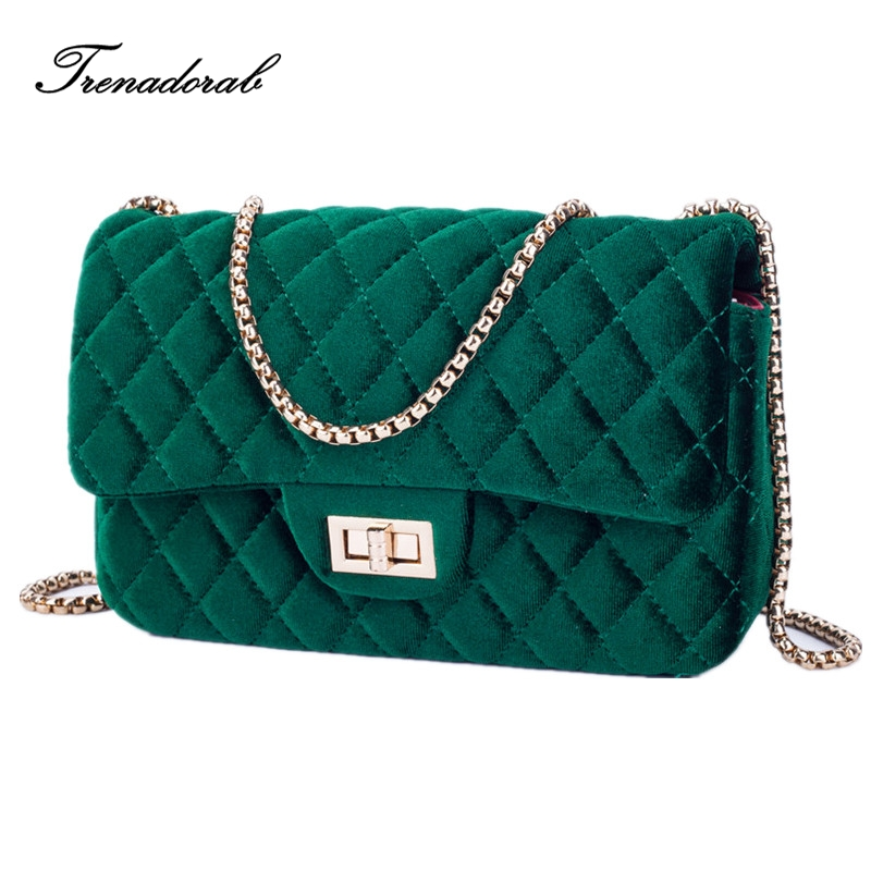 Trenadorab Velour Shoulder bag Women Bag luxury handbags designer Brand Ladies Chain Velvet Crossbody Messenger Bags Sac A Main luxury handbags women chain messenger bag lipstick lock designer woman black