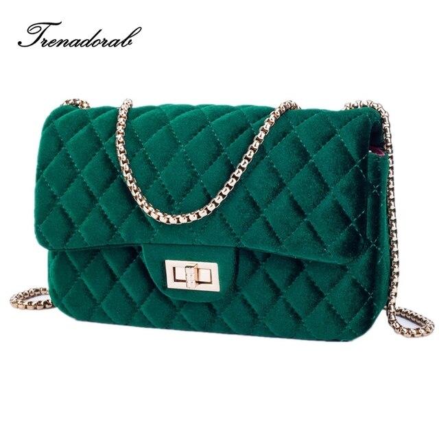 Trenadorab Velour Shoulder Bag Women Luxury Handbags Designer Brand Las Chain Velvet Crossbody Messenger Bags