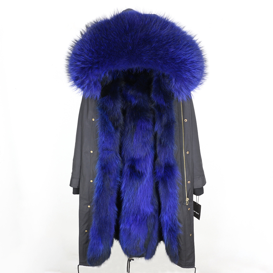 2019 Real Fur Coat Winter Jacket Women Long Parka Waterproof Big Natural Raccoon Fur Collar Hood Thick Warm Real Fox Fur Liner 111