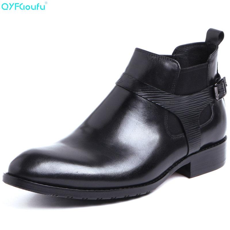 31a1d80d38 Qyfcioufu Ankle Moda Fivela Preto Chelsea 100 Masculinos Botas Nova Couro  Primavera Genuíno Boots Se Sapatos Outono Vestem Homens rpqrwOC