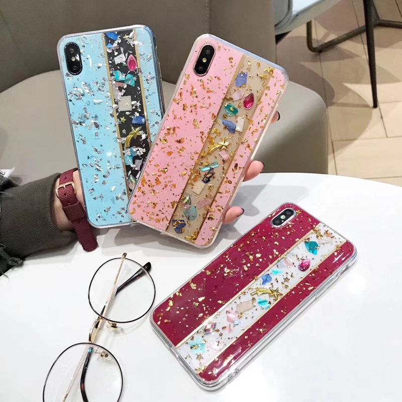 Fashion Shining Glitter Gold Foil Bling Marble Phone Case For iPhone XR X Max 7 8 Plus 6 Soft TPU Cover Coque