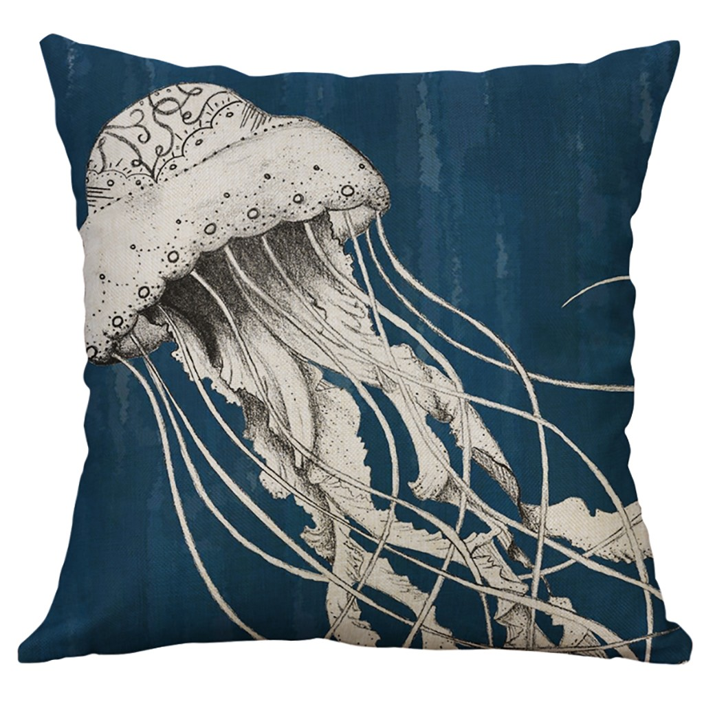Image 2 - Marine Life Coral Sea Turtle Seahorse Whale Octopus Cushion Cover Pillow Cover Home Decorative Housse De Coussin 45x45cm-in Cushion Cover from Home & Garden
