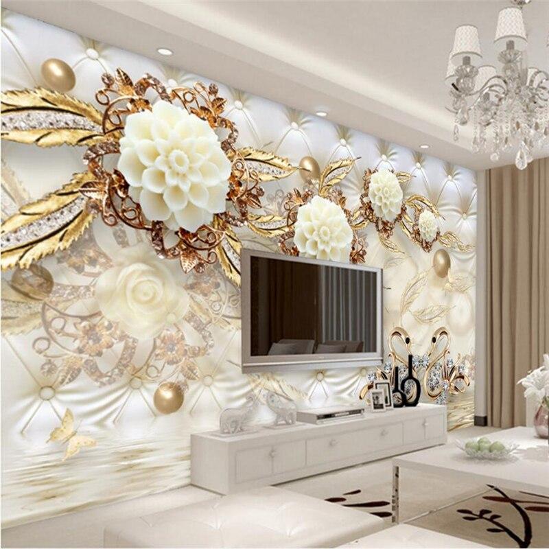Custom Photo Wallpaper 3D Fresco Wall Sticker 3d Luxury Gold White Flower Soft Bag Globe Jewelry TV Background Wall リビング シャンデリア