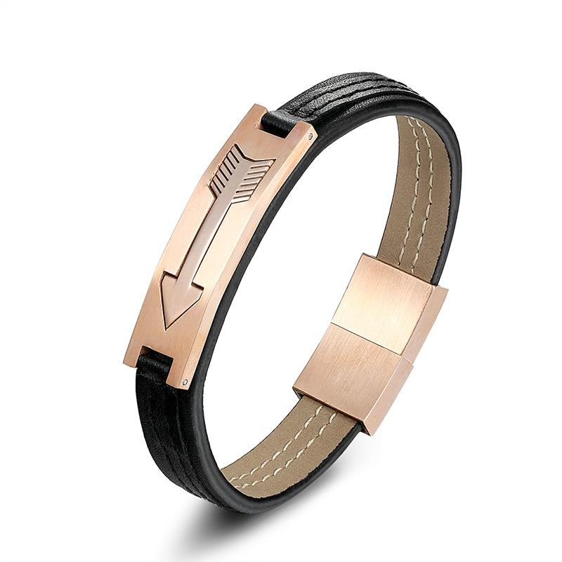 Trendy Arrow Jewelry 12mm width Real Cowhide Cuff Strap Bracelet Men Stainless Buckle Steel Rose Gold Arrow Leather Bracelets