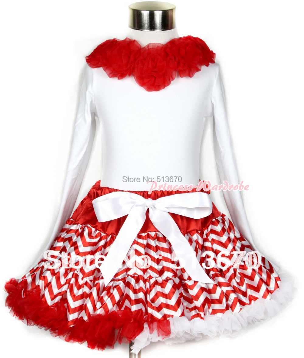 Xmas Red White Wave Pettiskirt Matching White Long Sleeve Top With Red Rosettes MAMW253 xmas red white pettiskirt with christmas gingerbread snowman print white long sleeve top with red lacing mamw402