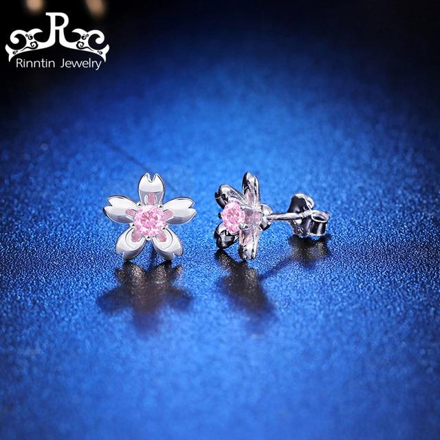Rinntin Reale Dell'argento Sterlina 925 Donne Orecchini Ciliegio Modello Con AAA Rosa Zircon Autentico Lusso Fine Jewelry PSE14