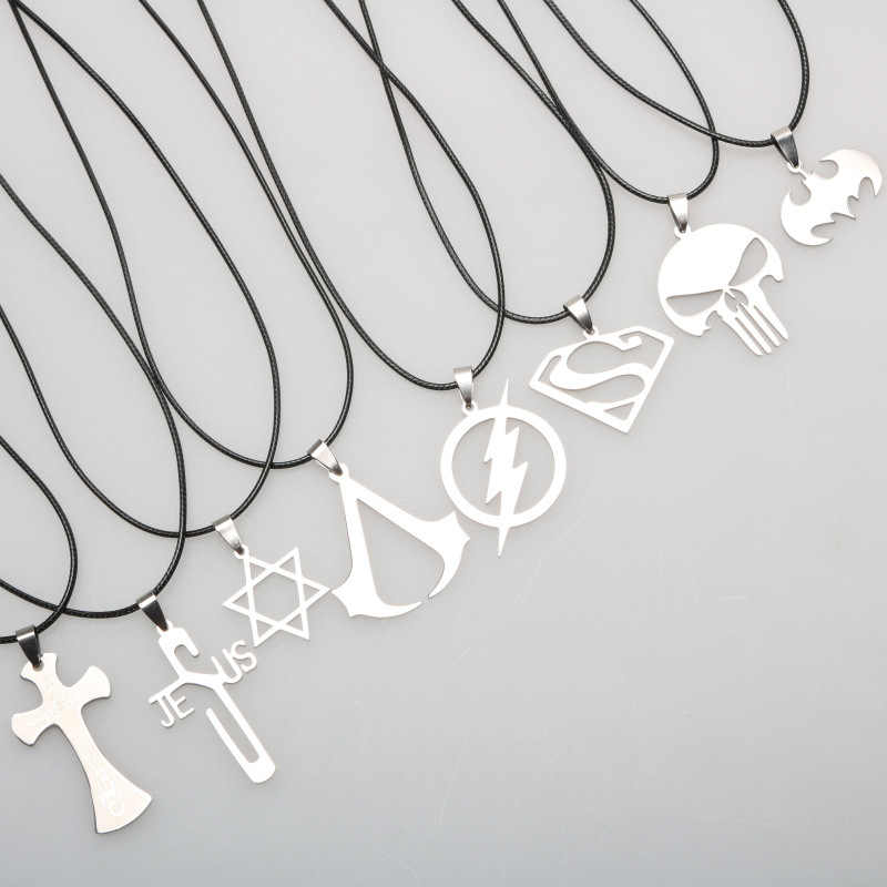 TANGYIN 2018 Charm Men Stainless Steel Necklace Long Leather Rope Superman Cross Punk Pendant Necklace for Men and Women Jewelry