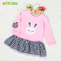 Sotida Girls Dresses 2016 Brand Fashion Kids Clothes Casual Style Baby Girls Clothes Long Sleeve Cartoon Bunny Print Plaid Dress