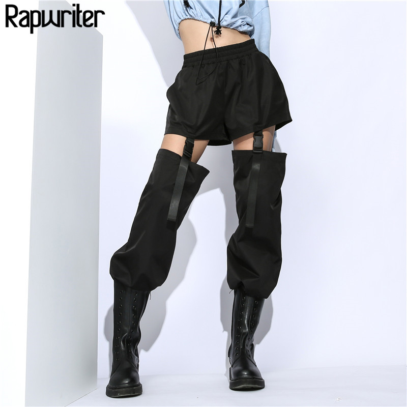 Rapwriter Fashion Detachable Two Ways Of Wearing Stretch High Waist Long Pants Women 2018 New Loose Cargo Jogger Women T