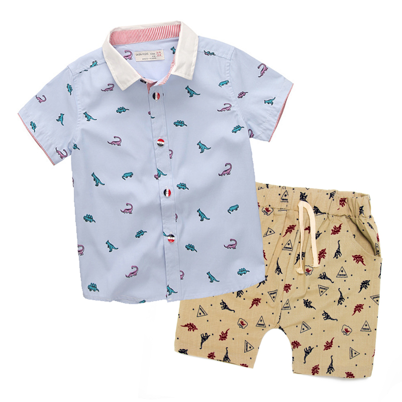 Baby Boys Girls Clothing Set Children Cartoon 2018 New Spring Summer Dinosaur Print Short-sleeve Shirt+Shorts For Kids Clothes summer baby boys clothing set cotton animal print t shirt striped shorts sports suit children girls cartoon clothes kids outfit