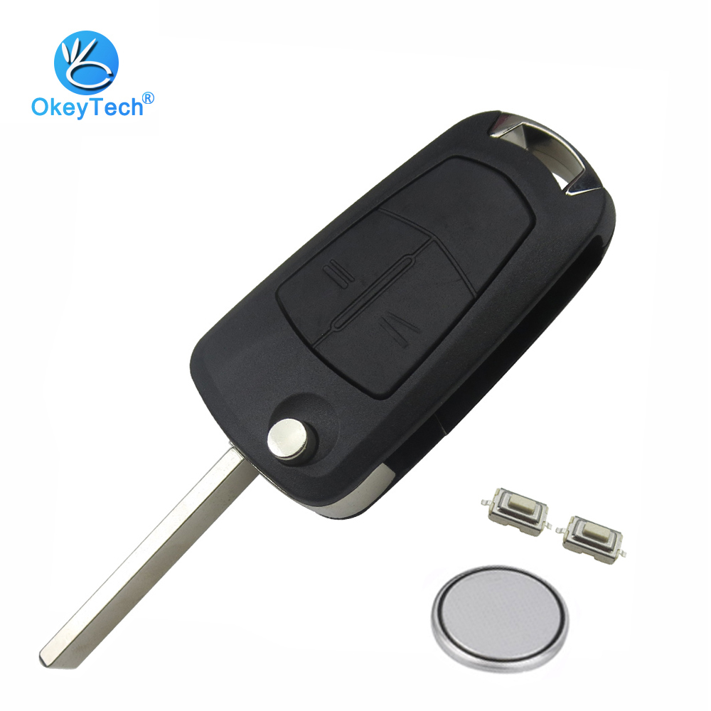 OkeyTech 2 Button Flip Folding Remote Car Key Shell Cover Case Fob With Battery Switch For Opel Astra H Corsa D Vectra C Zafira