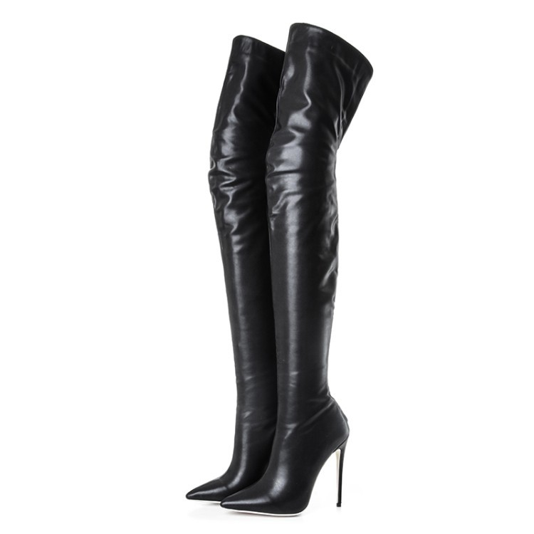 2018 new fashion boots women thigh high over the knee boots slip on autumn winter long boots stiletto heels prom shoes fashion snake printed thigh high boots med heels slip on over the knee boots autumn winter party banquet prom shoes woman
