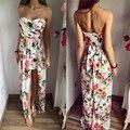 2016 do sexo feminino verão sexy maxi longo Chiffon solta flor do vintage print floral mulheres strapless vestido sem mangas praia boêmio d333