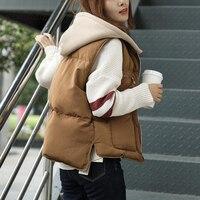 Winter Hoodie Vest Women Parka Oversize Coat Thick Warm Jacket Sleeveless Vintage Waistcoat Autumn Outerwear LM076