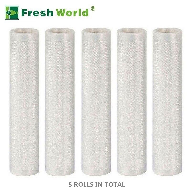 Cocina al vacío de alimentos bolsa 30 28 25 20 15 12 cm * 500 cm para el embalaje de plástico sellado de la máquina fresca mantener 5 rollos/Set