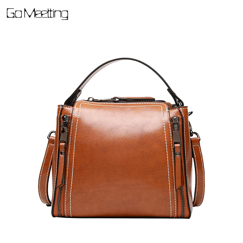 Go Meetting Brand Genuine Leather Women Messenger Bag High Quality Small Crossbody Bag Women Fashion Shoulder Bag bolsa feminina new brand genuine leather women bag fashion retro stitching serpentine quality women shoulder messenger cowhide tassel small bag