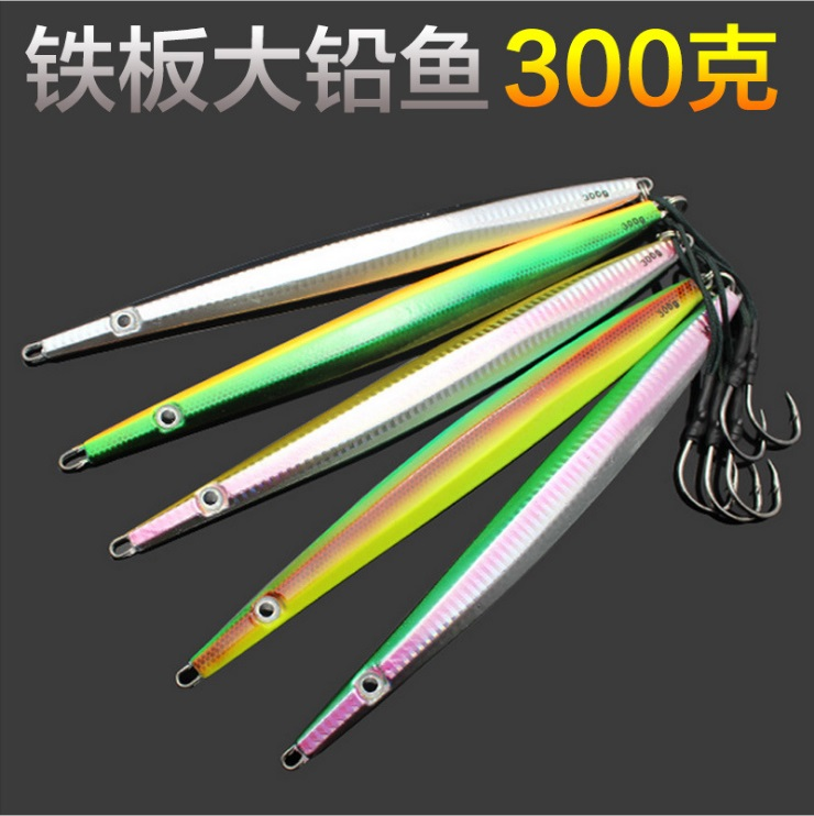 5pcs/set Micro Knife Butterfly Metal Jig 300g 34cm Fishing Lure Snapper Kingies Tuna Glow Lures Paint Hard Bait Slow Jigging