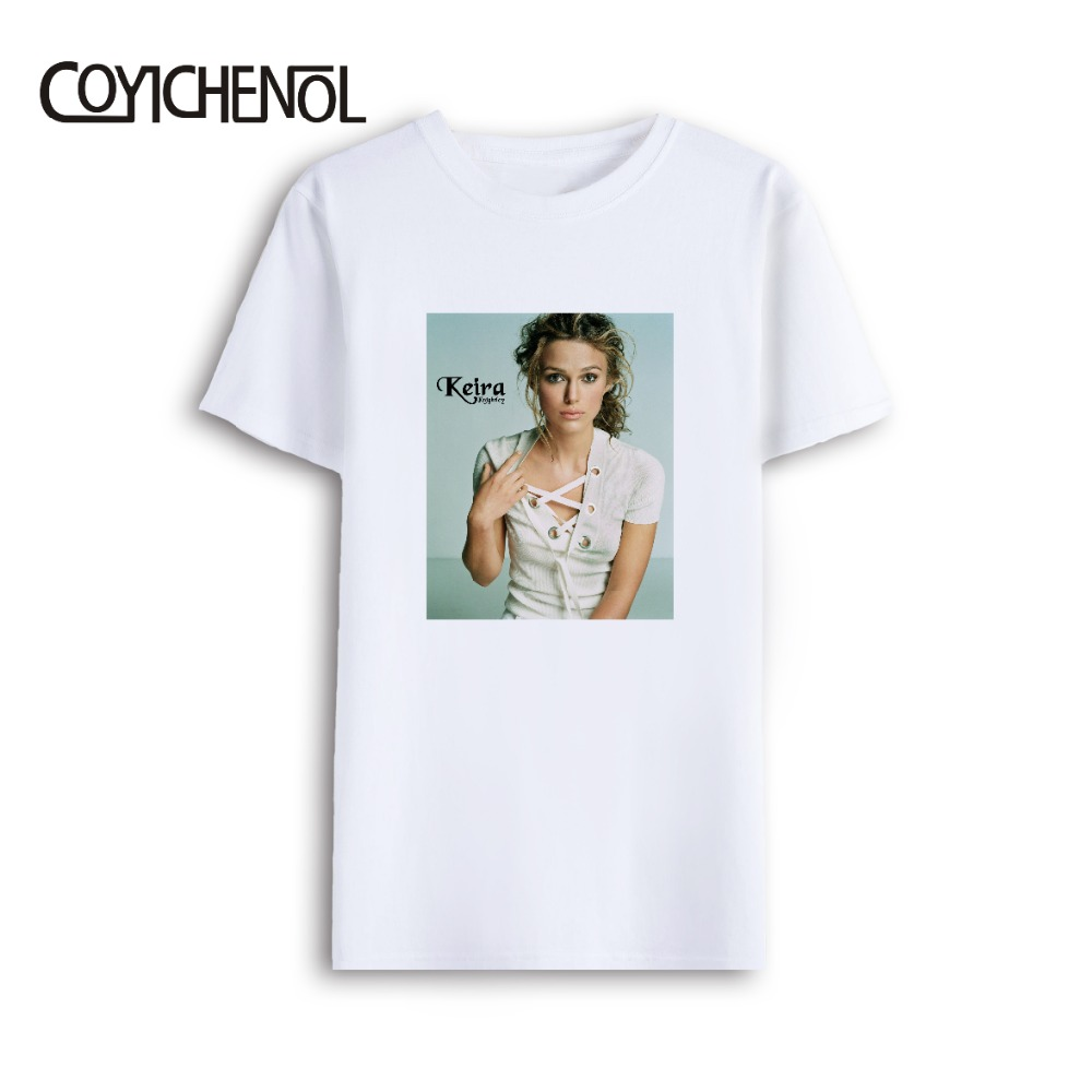 Keira Knightley customize print tshirt men oversized short sleeves tee solid color couple top casual large size o neck top in T Shirts from Men 39 s Clothing