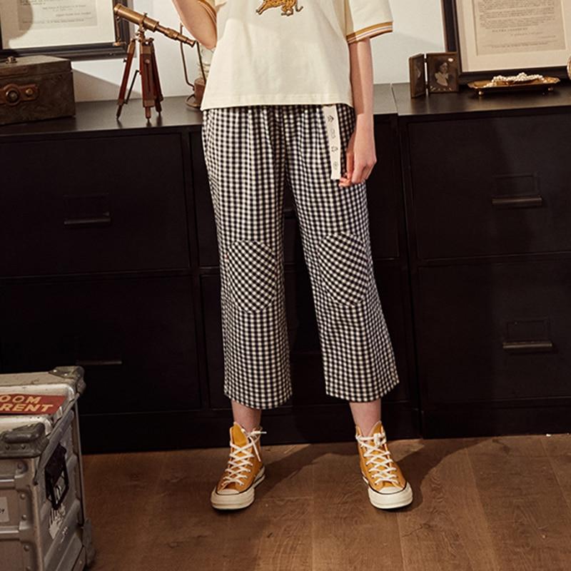 Fashion Design Plaid 2018 Elastic Waist Women Straight Pants Capris Cartoon Print Belt Calf Length Pants Summer Preppy Style 3