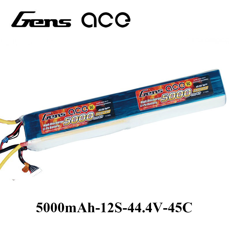 Gens ace Lipo Battery 12S 5000mAh Lipo 44.4V Battery Pack EC5 Connector 45C Battery 600 Size Helicopter Align Trex Gaui gens ace lipo battery 3s 5200mah lipo 11 1v battery pack 3 5mm banana connector 10c battery fpv hobbies rc models accessories