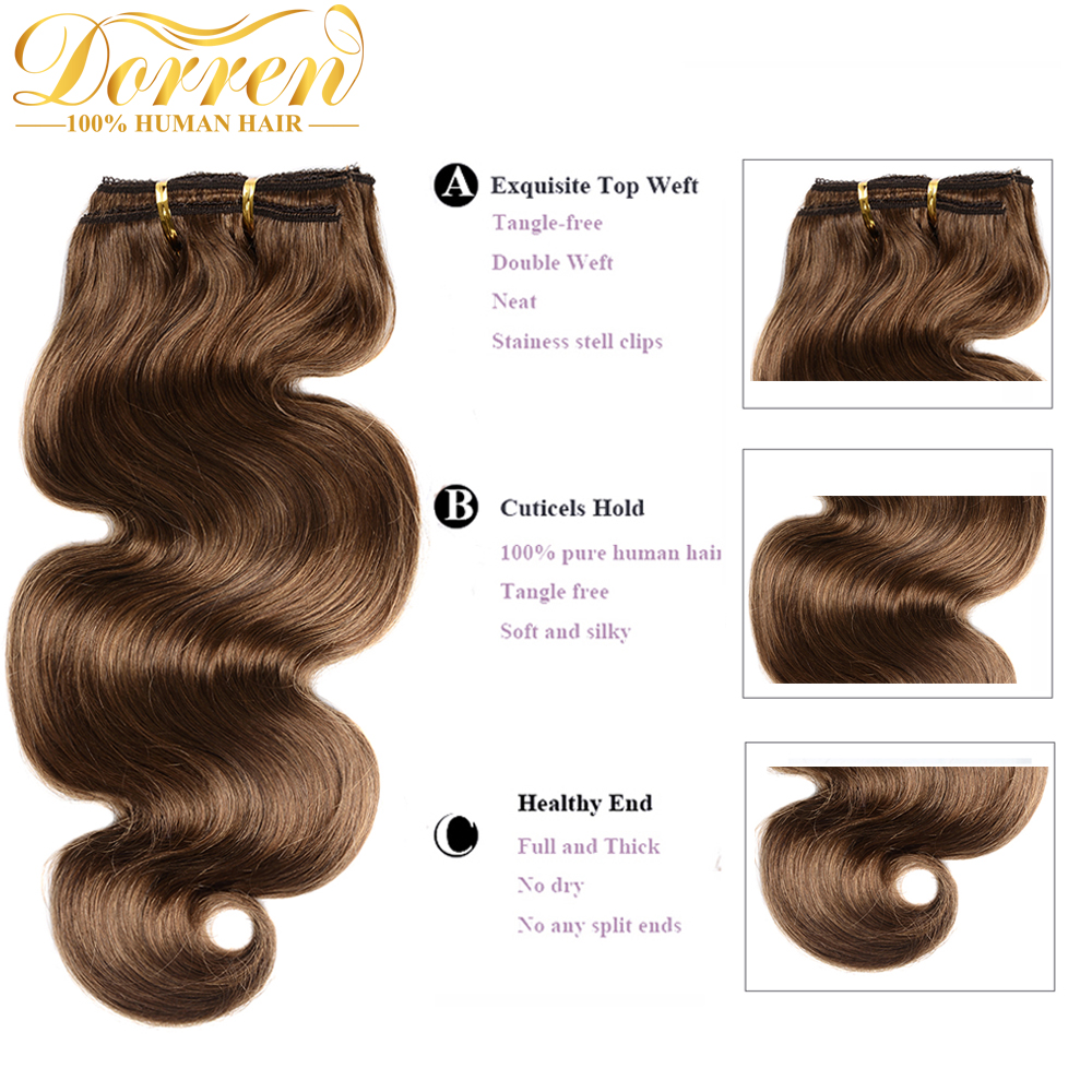 Doreen Malaysia Remy Hair Body Wave Clip In Hair Extensions 100