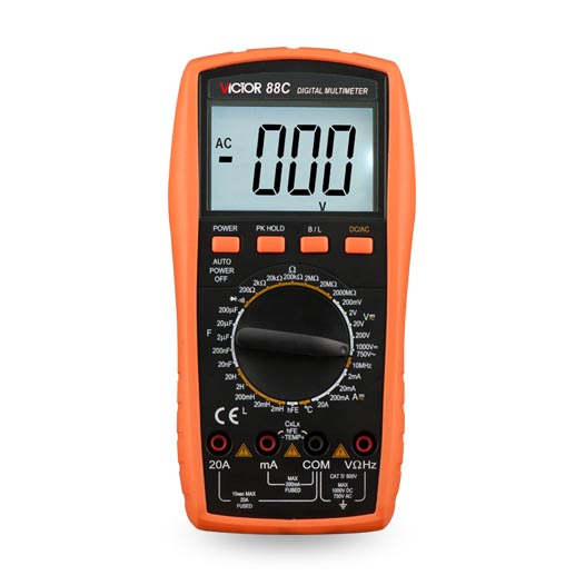 VICTOR 88C Large screen LCD DMM Digital Multimeter multimetro digital profissional victor lcd 3 1 2 digital multimeter vc9804a
