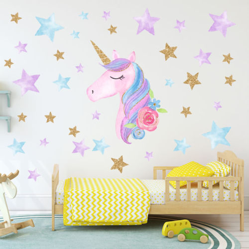 Wall Stickers Cartoon Unicorns Nordic Style Kids Room Livingroom Home Decor DIY
