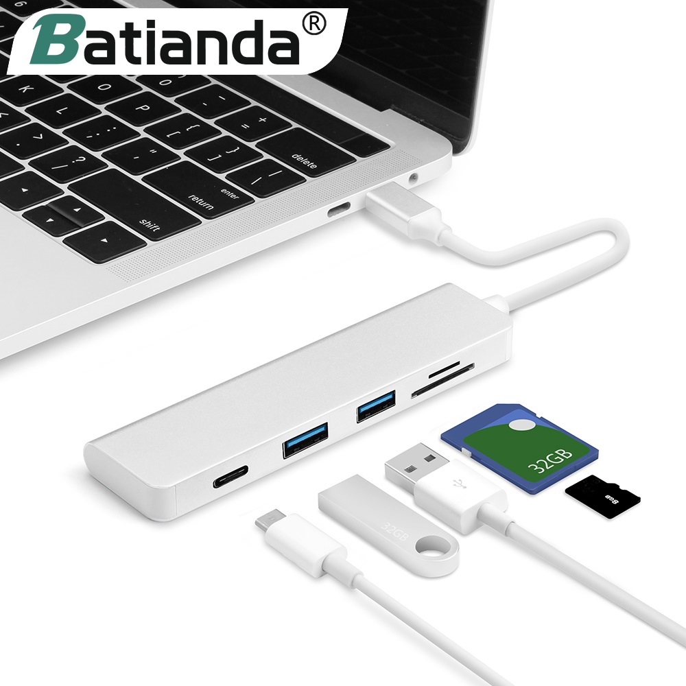 Batianda <font><b>Thunderbolt</b></font> <font><b>3</b></font> Adapter USB C zu <font><b>3</b></font>,0 HUB Typ C Konverter für MacBook Pro Air 13 15 16 USB-C adapter TF/<font><b>SD</b></font> Kartenleser image