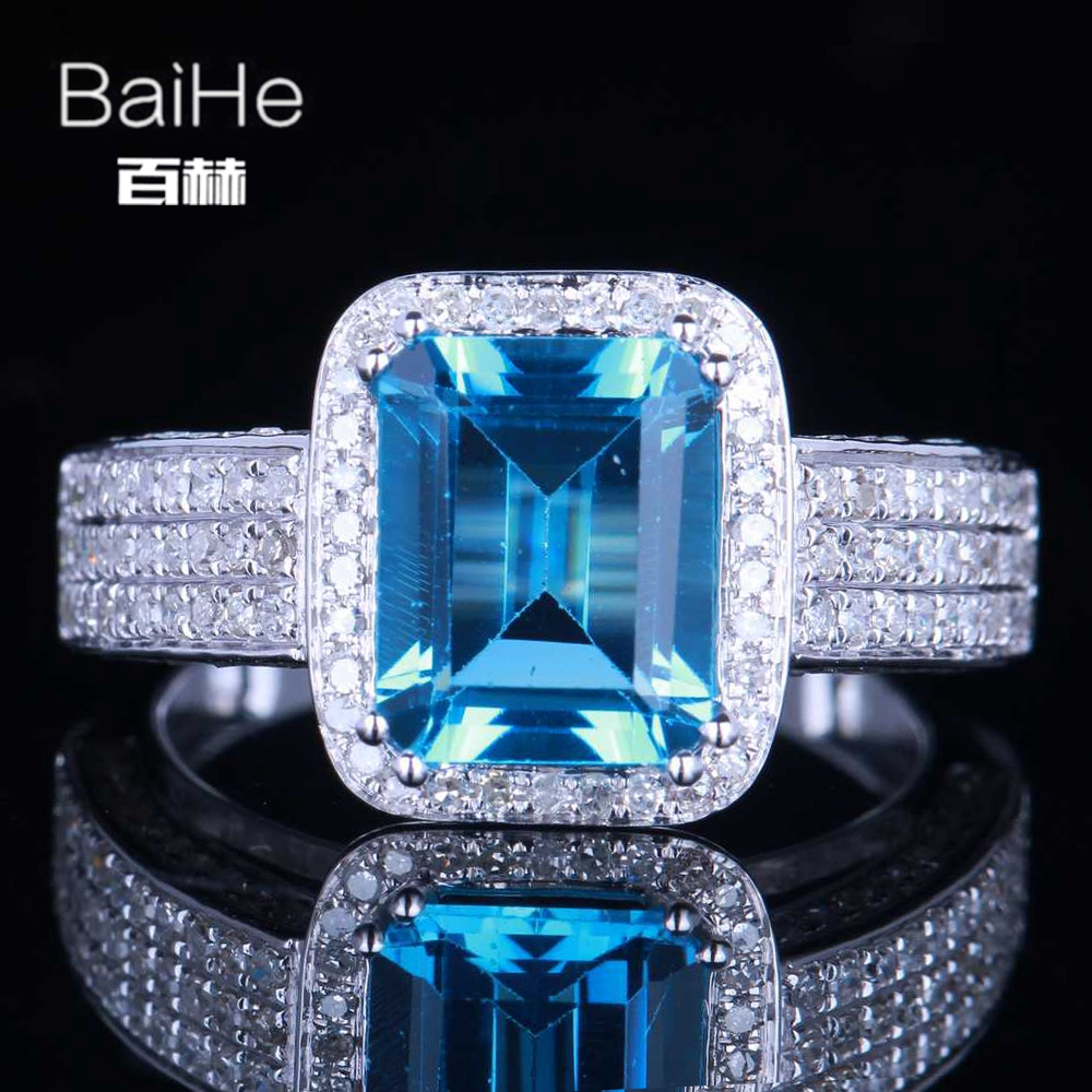 BAIHE Sterling Silver 925 3.3CT Certified Emerald Flawless 100% Genuine Blue Topaz Engagement Women Vintage Fine Jewelry Ring helon sterling silver 925 flawless 11x9mm emerald cut 4 36ct real blue topaz natural diamond engagment wedding ring fine jewelry
