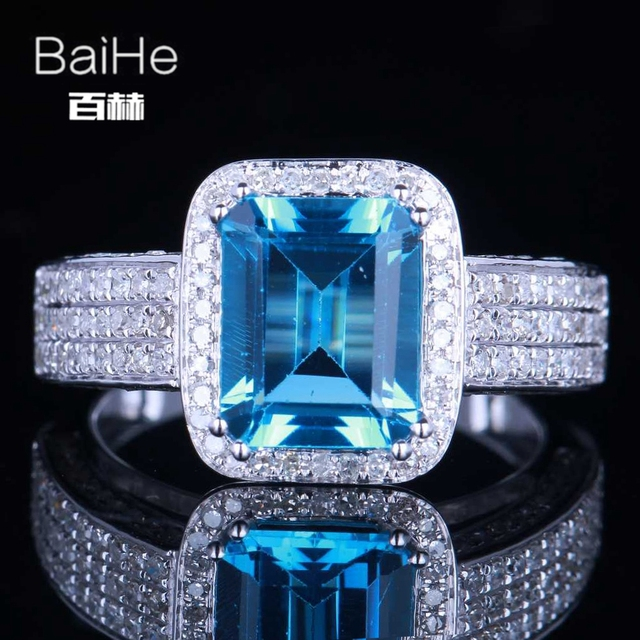 BAIHE Sterling Silver 925 3.3CT Certified Emerald Flawless 100% Genuine Blue Topaz Engagement Women Vintage Fine Jewelry Ring