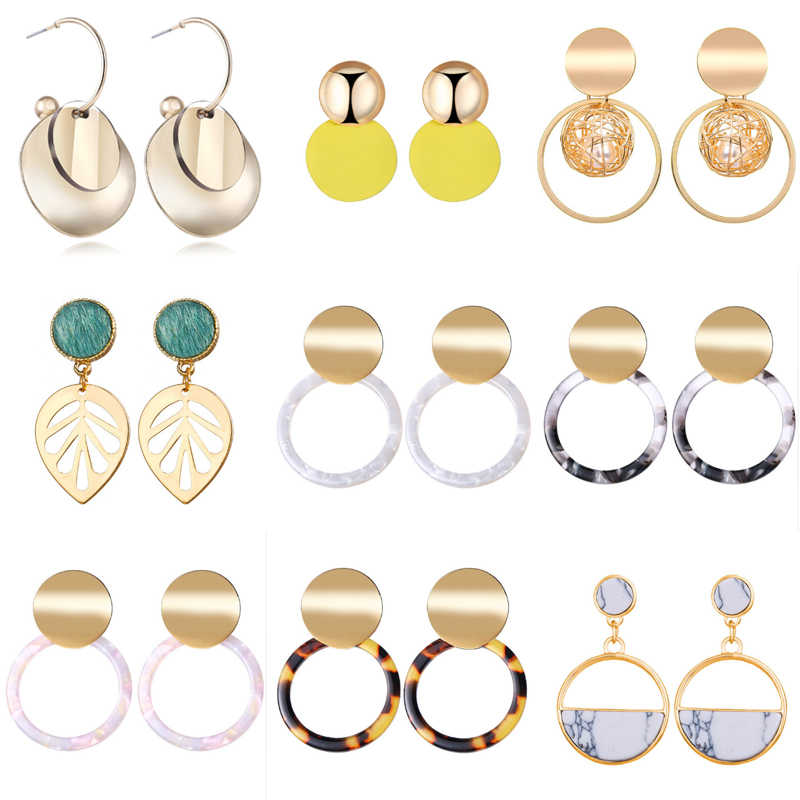 Round Geometric Acrylic Resin Drop Earrings For Women Vintage Gold Color Dangle Za Earring Boho 2019 Female 17KM Fashion Jewelry