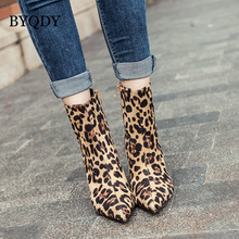 BYQDY 2018 Fashion Women Boots Spring Autumn Leopard Leather Shoes High Heels Ladies Shoe For Party Ankle Boot